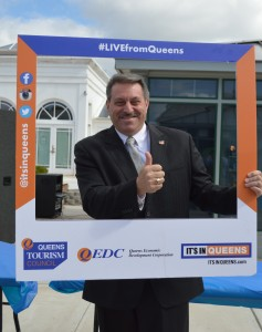 State Senator Joe Addabbo, Jr. (D-Howard Beach) dropped by to say a few words in support of Queens businesses.  Forum Photo by Eugénie Bisulco