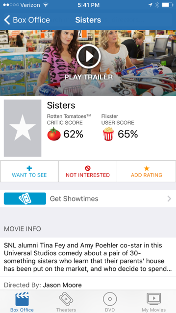 Flixster is a user-friendly (free) app that links local theater information with current movies and Rotten Tomatoes ratings.