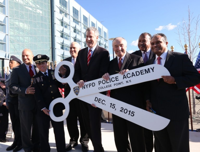 De Blasio, Police Department Brass Cut Ribbon on New NYPD Academy