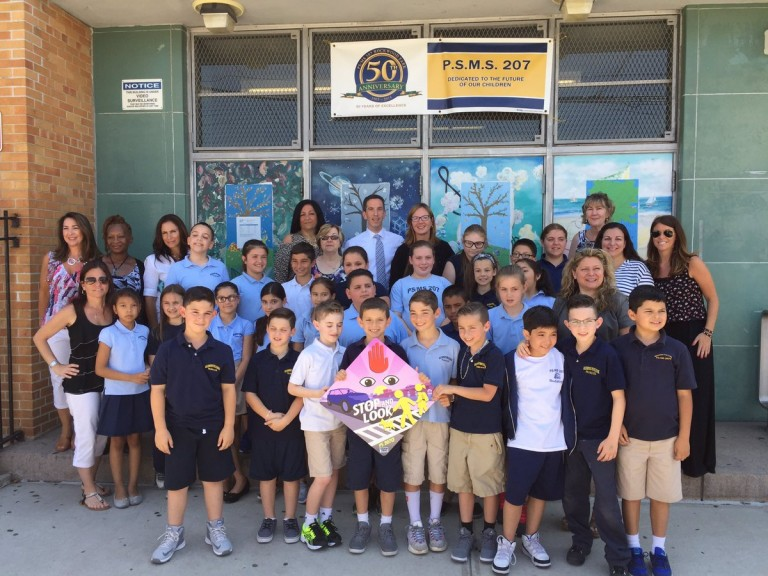 Fourth-Graders, Goldfeder Unveil PS 207 Traffic Safety Signs
