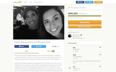 Karina Reward Fund Soars Past $250,000; Still no suspects or persons of interest