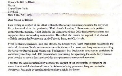 Borough President Asks Mayor to Name Rockaway Dock in Honor of Longtime Ferry Advocate
