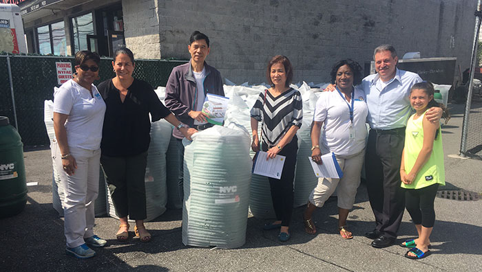 Pheffer Amato, Addabbo  Host Rain Barrel Giveaway at NYFAC Lot