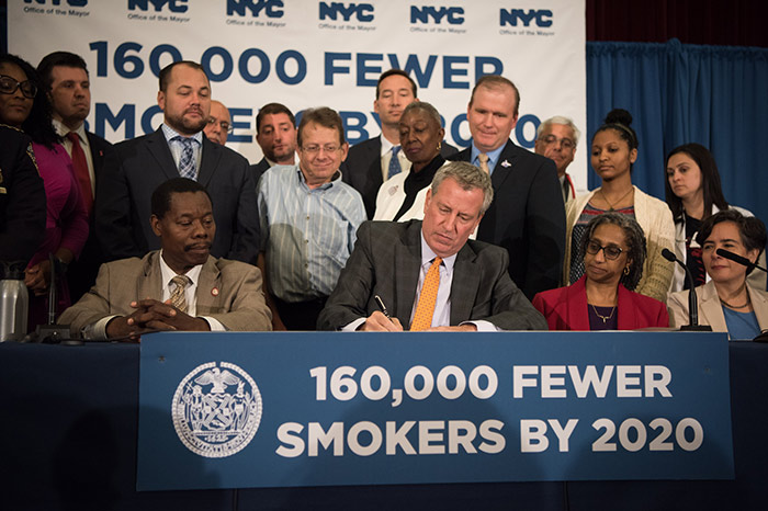 De Blasio Signs Legislation to Curb Smoking,  Tobacco Usage to Historically Low Levels
