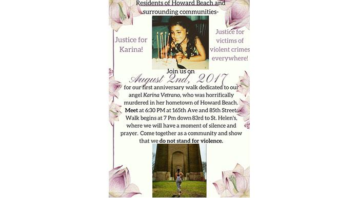 Vetrano Family to Host First-Anniversary  Memorial Walk for Karina