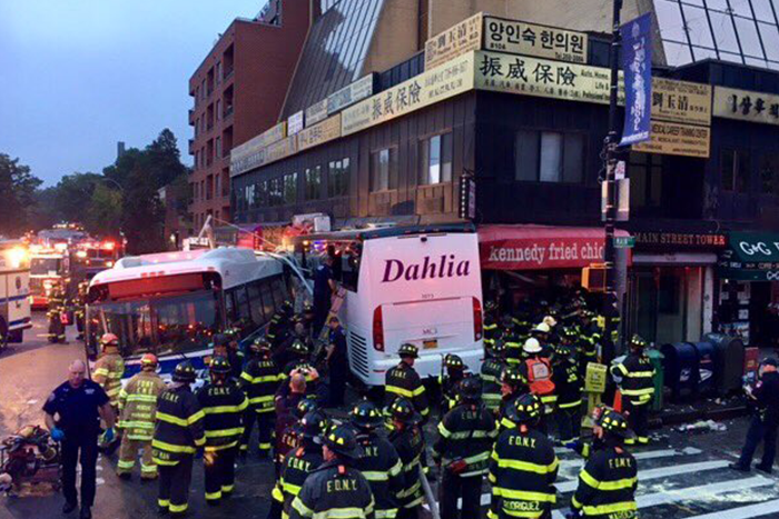 Flushing Bus Crash Leaves Three Dead, 17 Injured