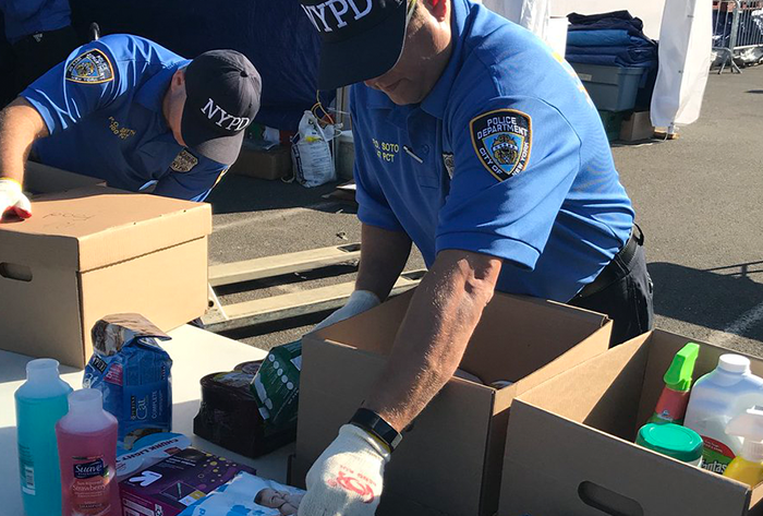 Police Organize  Disaster Relief Efforts  at Resorts World NYC
