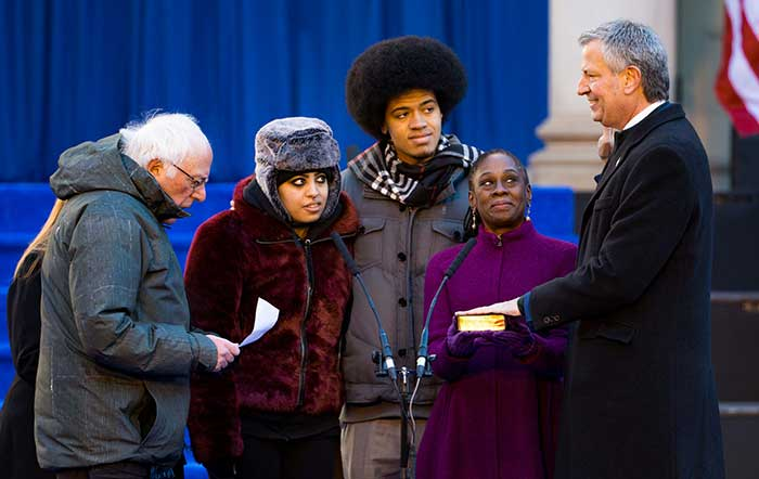 De Blasio Brings Brooklyn Bernie Back to Celebrate City Values at Inauguration