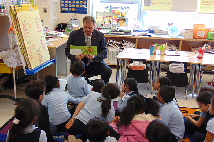 Addabbo is Open Book at Ozone Park School for World Read Aloud Day
