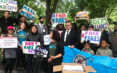Straphangers, Advocates Take Fight for 'Fair Fares' to City Hall Steps