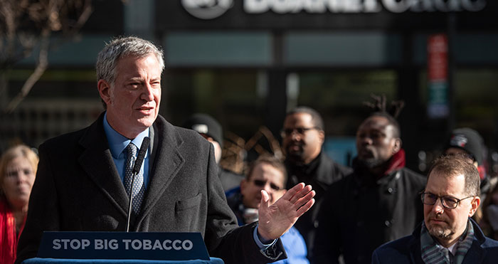 De Blasio Hails Ban on  Tobacco Products in Pharmacies