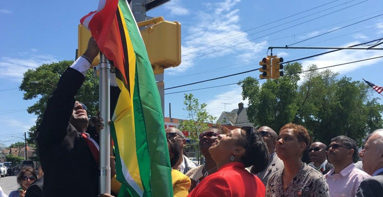 Guyana's Flag Flies in Richmond Hill