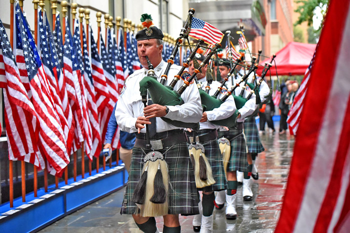 Photo Courtesy of FDNY Friday's ceremony featured the FDNY Emerald Society Pipes and Drums.