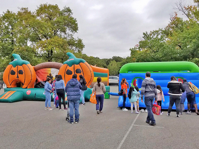 Photo Courtesy of Woodhaven Residents' Block Association There certainly were plenty of bouncy houses to choose from at Victory Field on Saturday.