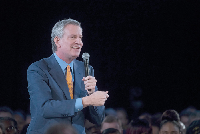 "Photo Courtesy of Ed Reed/Mayoral Photography Office ""New York City is the greatest city in the world, but many New Yorkers have real fears that the city they love is slipping away,"" Mayor de Blasio said."