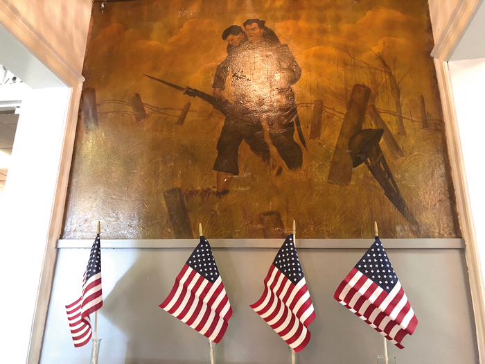 Refurbished artwork outside the main hall at American Legion Post 632's Ozone Park headquarters.