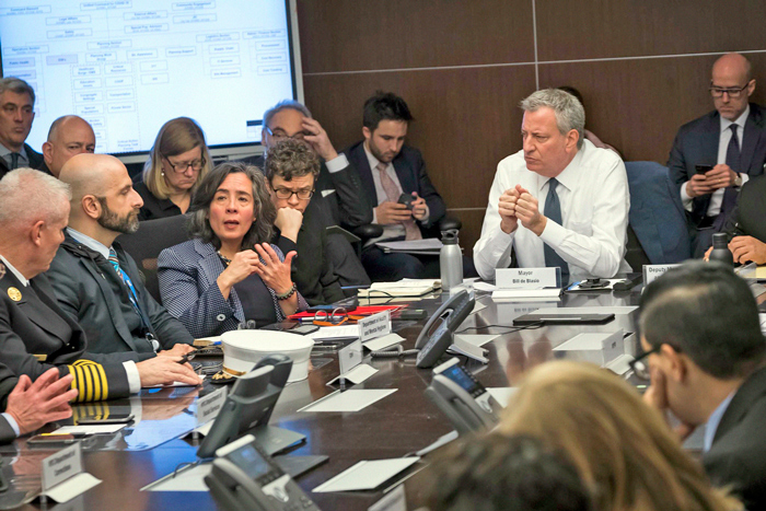 Photo Courtesy of Ed Reed/Mayoral Photography Office On Monday, Mayor de Blasio convened a tabletop exercise with City emergency response teams to run through scenarios related to the coronavirus.