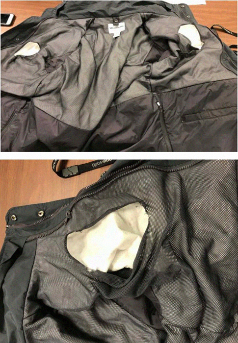 Photo Courtesy of U.S. Attorney's Office, Eastern District of New York Belloisi's jacket without cutouts large enough to conceal bricks of cocaine.