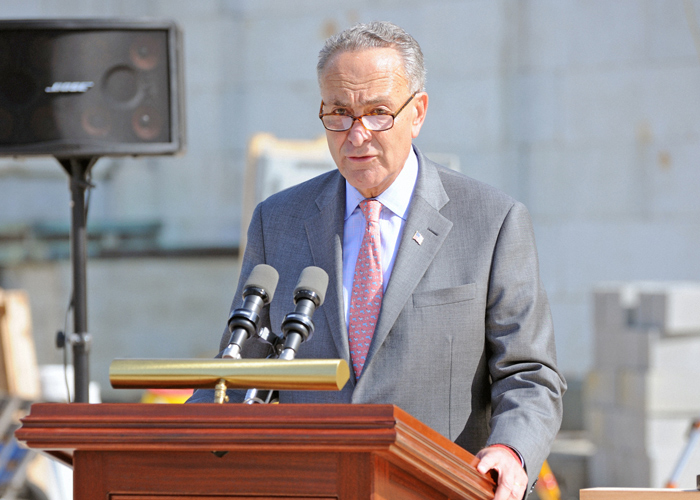"File Photo ""The coronavirus has hit New York families especially hard and without action this week in the Senate, millions of those families who have been financially hanging on by a thread would be hurt even more,"" Sen. Schumer said."