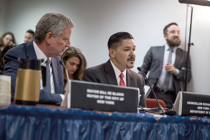 Mayor Bill de Blasio and Schools Chancellor Richard Carranza have called for the elimination of the SHSAT. File Photo