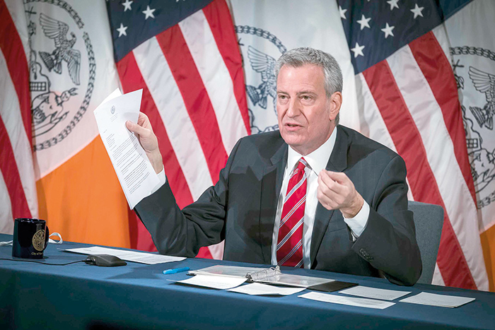 """Photo Courtesy of Ed Reed/Mayoral Photography Office """"I do want that hotel closed. I've instructed my team. I saw the very, very painful report a few days ago. I instructed my team to move to close that hotel immediately,"""" Mayor de Blasio said on Monday."""