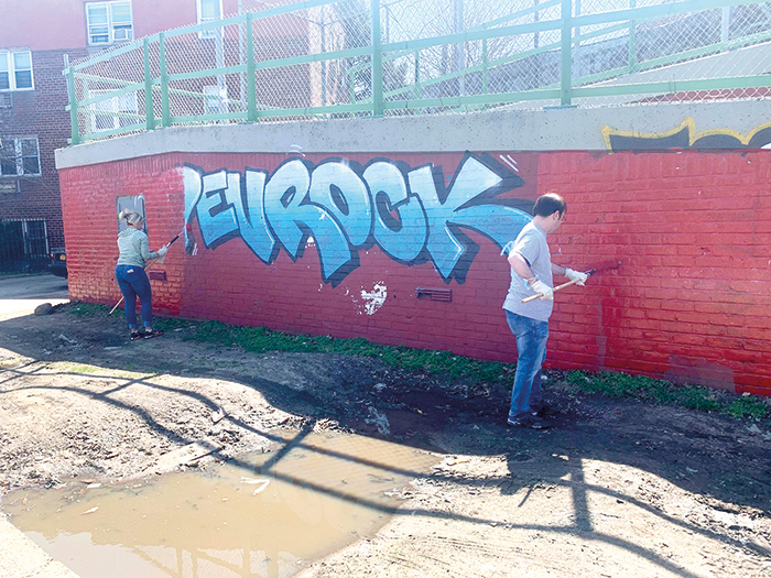 Vols Target Graffiti,  Litter in Ozone Park Spring Cleaning
